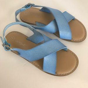 Cat & Jack Blue slide on Sandals sling back Sz 12